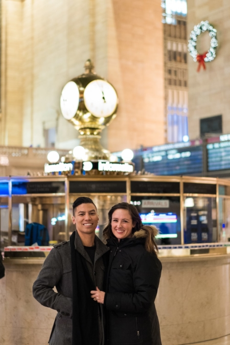 Engagement portrait at grand central terminal.
