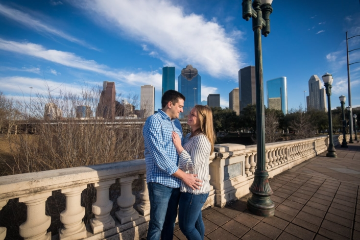 Engagement portrait in the city.