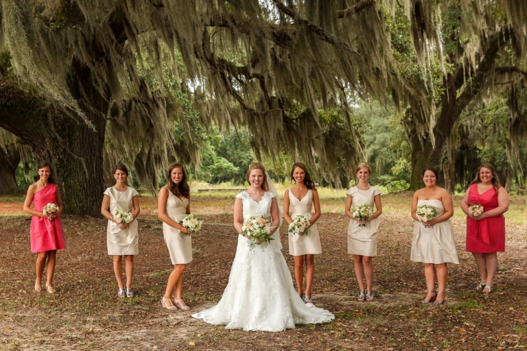 Bridal party standing under a tree with Spanish moss.