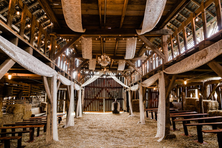 Interior of a barn decorated for a wedding