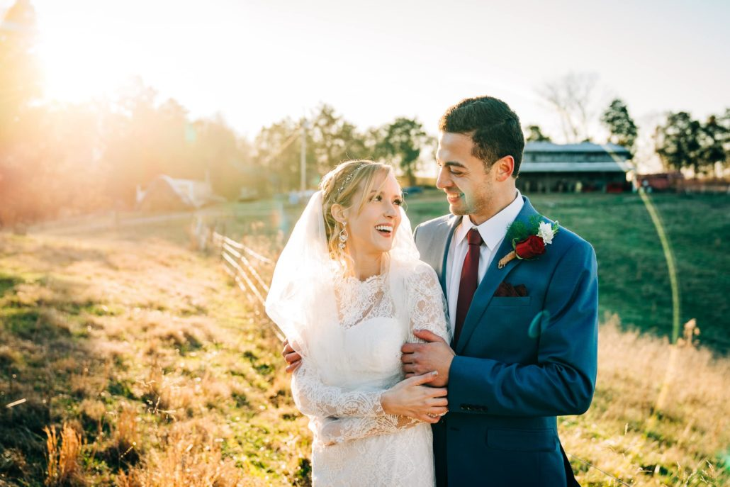 Bride and Groom at Sunset on Family Farm