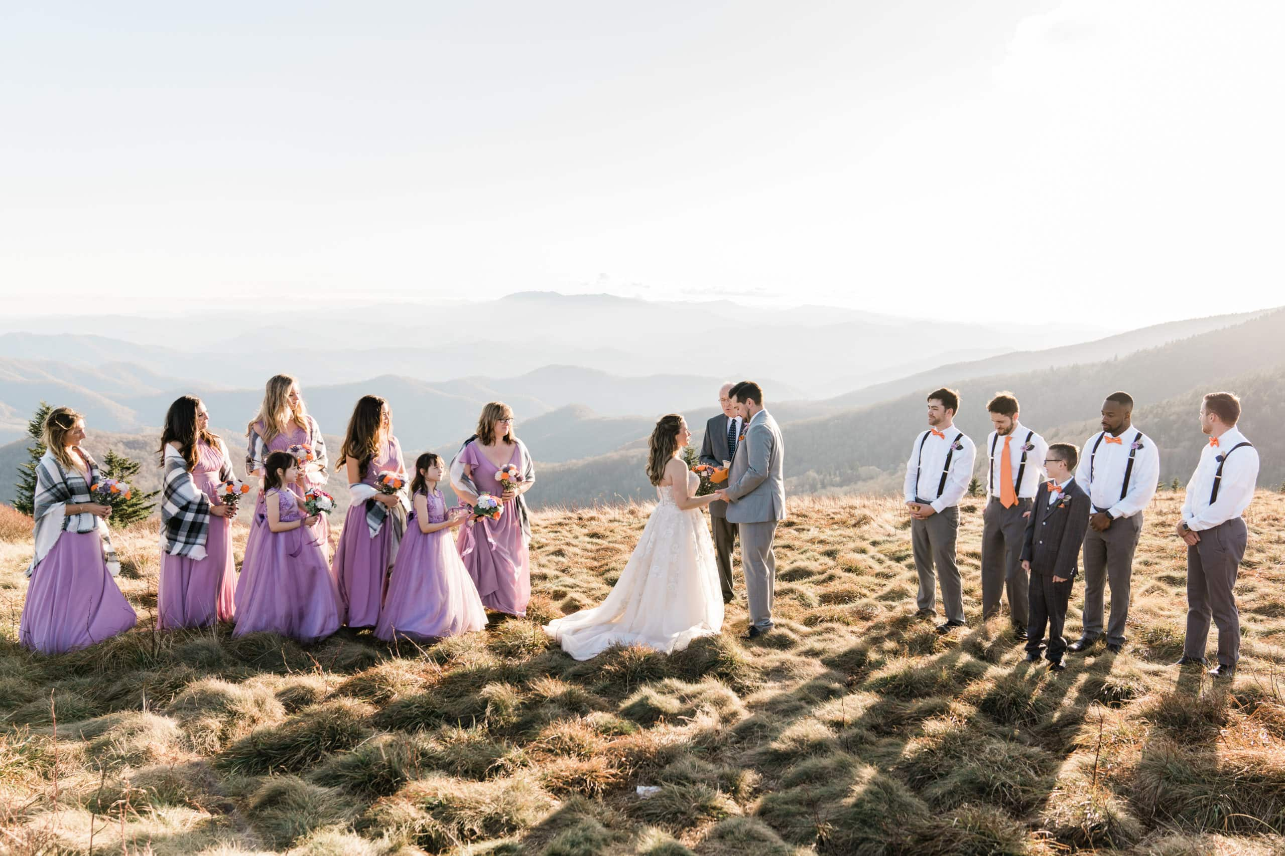 Elopement Wedding Ceremony with mountain views